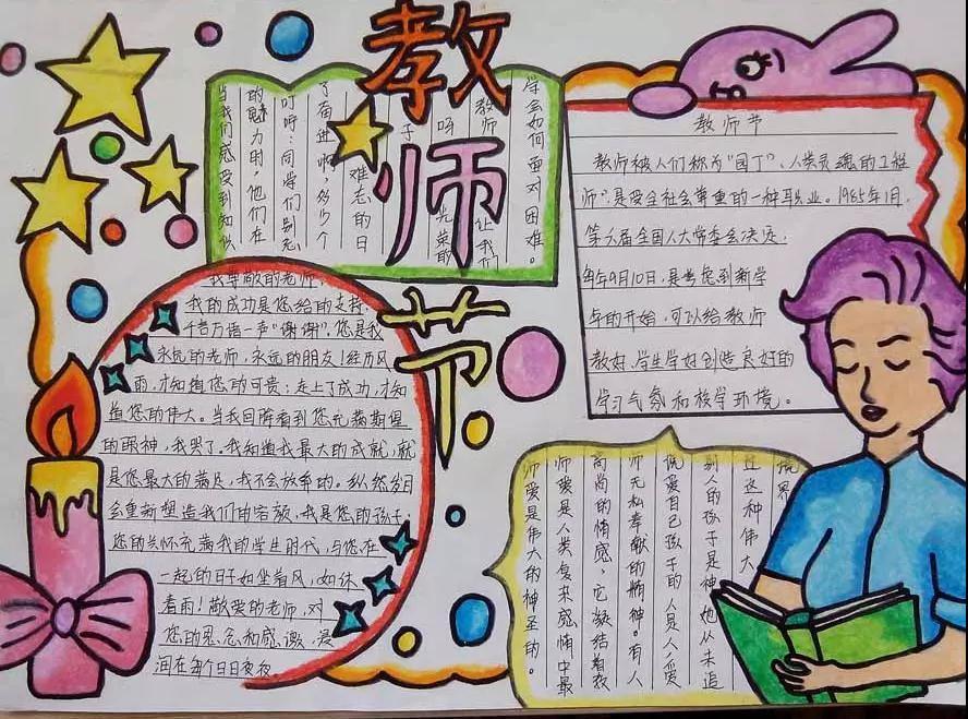 小学生开学必备 教师节主题手抄报 教师节祝福语素材